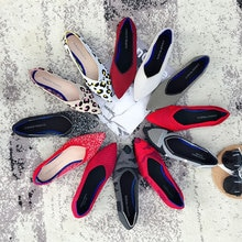 2020 mode plusieurs couleurs femmes chaussures plates respirant tricot chaussures pointues mocassin couleur mixte femmes chaussures souples
