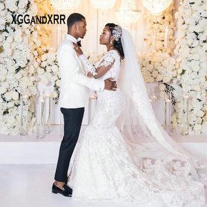 Sexy Mermaid Wedding Dress 2020 Long Sleeves Lace Bridal Gown Illusion Neck Applique White Vestidos De Noiva Plus Size African