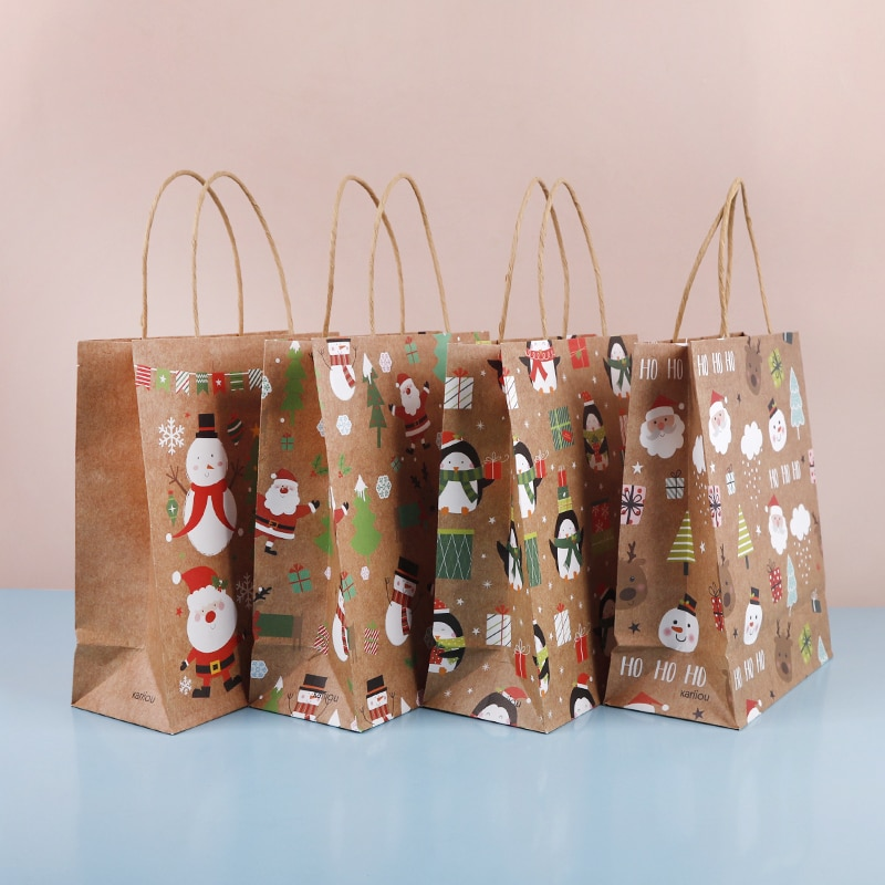 Hot sale Christmas Treat Candy Bags with Handle Holiday Home Decoration party supplies Xmas Gifts Ba