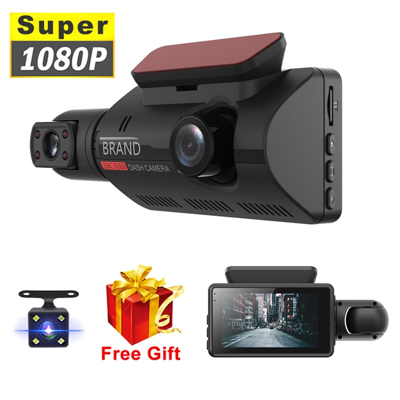 Car DVR Camera New Dash Cam Three Record Hidden Video Recorder Dash Cam 1080P Night Vision Parking Monitoring G-sensor