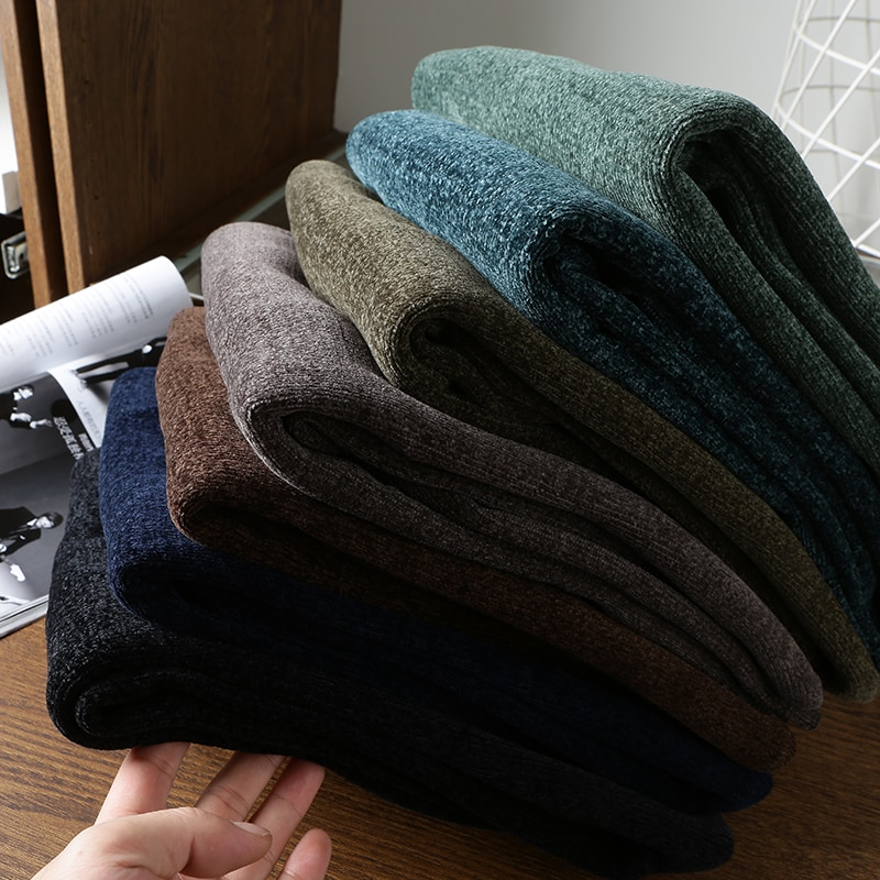 Men's Sweater Clothing Winter Chenille Fabrics Plus Velvet Thick Warmth Pullover Round Neck Sweaters Big-Name High-Quality Tops