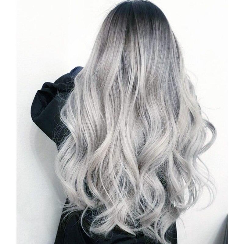 QQXCAIW largo ondulado Rubio degradado peluca Natural de dos tonos de la parte media resistente al calor pelo pelucas sintéticas para las mujeres afroamericanas