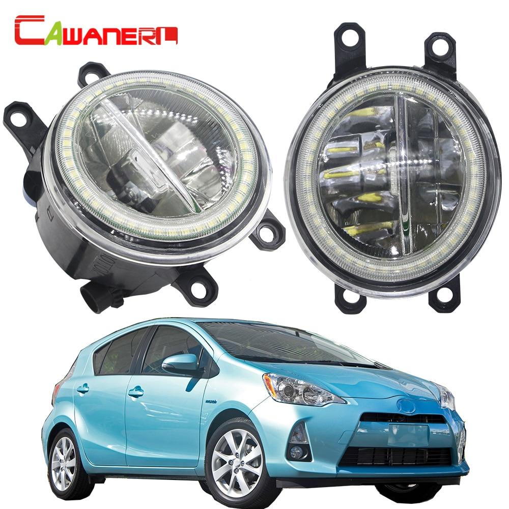 Cawanerl para Toyota Prius Plus C V 2011 2012 2013 2014 2015 coche 4000LM LED luz antiniebla + Ojo de Ángel lámpara diurna H11 12V