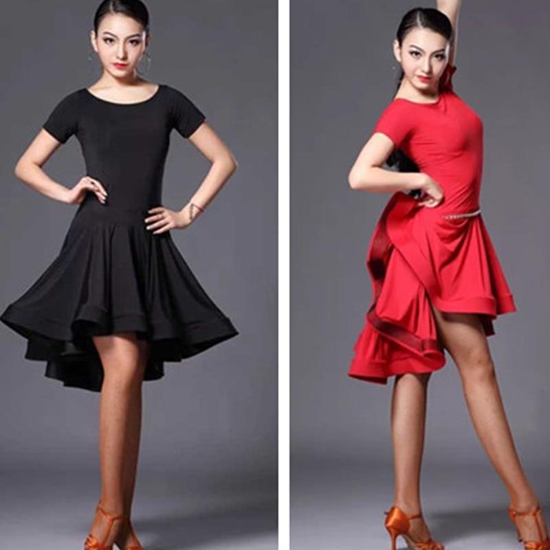 Nuevo vestido de baile latino, vestido de Super fibra de hielo, Ropa de baile roja, traje práctico, Moder vestido de baile, vestido latino de manga larga