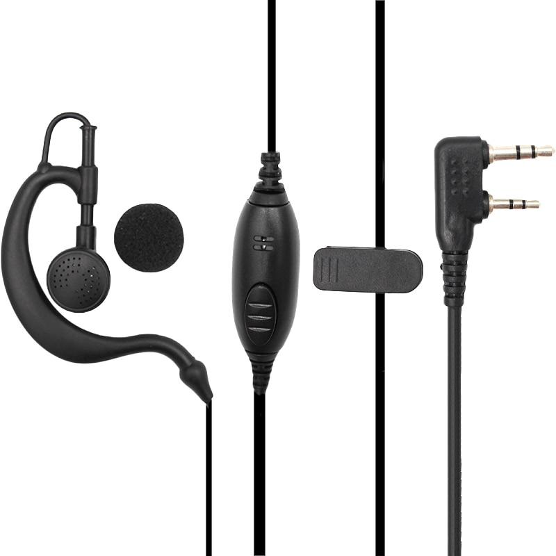 Black PTT G Shape Earpiece Earphone Headset Mic for Baofeng UV-5X 5R TYT Ham Two-way Radio Walkie Talkie Transceiver