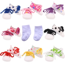 7Cm Doll Canvas Shoes For 18 Inch  American&43Cm Baby With Colored Shoelace New Born Doll Child Birt