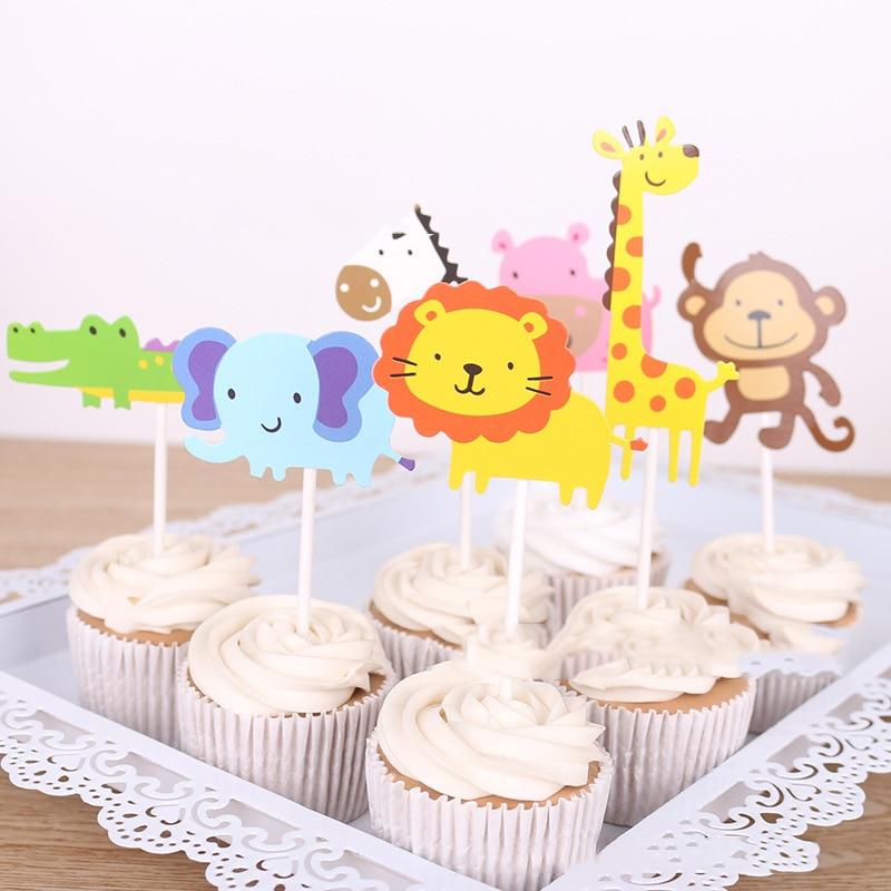 7 unids/set animal pastel topper sombrero jirafa elefante León cumpleaños fiesta boda decoración DIY pastel niño bebé regalo pastel topper sombrero