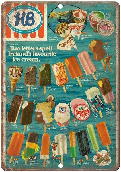 HB мороженое ирландское меню жестяной знак Искусство настенное украшение, винтажный алюминиевый Ретро металлический знак,