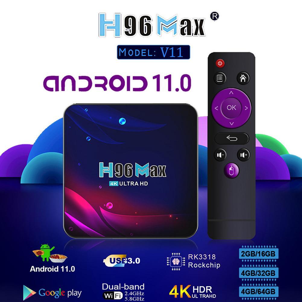2.4g 5g wifi h96 maxv11 para-android 11 caixa de tv rk3318 16/32/64gb bluetoothcompatível 4.0 para-google voz 4k caixa de tv inteligente