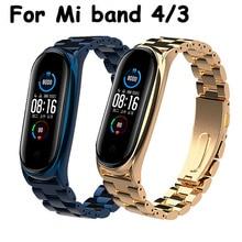 Correa de Metal para Xiaomi Mi Band 4, 3 y 5, pulsera de repuesto para reloj inteligente Mi Band 4 y Mi band 5