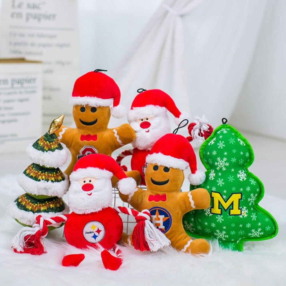 Рождественская игрушка для кошек, плюшевая Интерактивная собака, пищалка, игрушки для домашних животных, собака, молар, звуковая игрушка, иг...