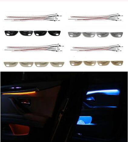Led decorativo Interior de coche, luces para puerta ambiental, rayas de 2 colores, luz de ambiente con dos luces en pies para BMW 5 Series F10/F11