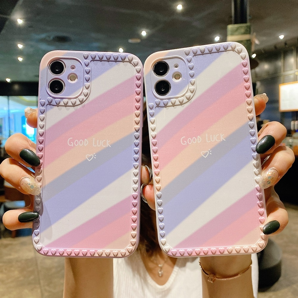 3D Colorfull Case For iPhone 11 12 Pro 7 8 6S 6 Plus XR X XS Max 12 Mini Silicone Case Sunset Rainbo