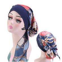Fashion Women Chiffon Muslim Hijab Caps Flower Print Turban Bonnet Islamic Ladies Head Scarf Wrap Under Hijab Caps Turbante