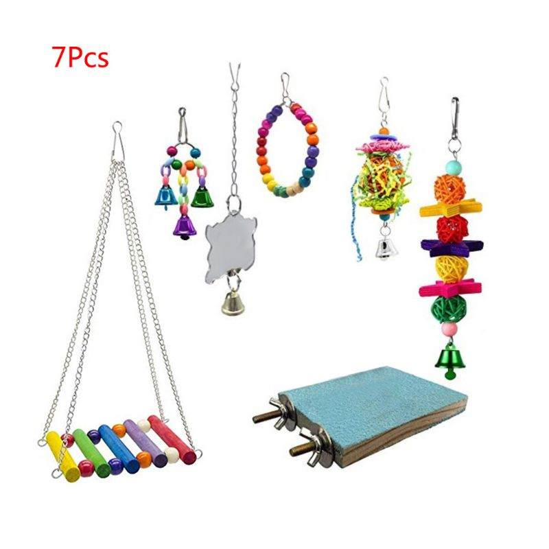 7 unids/set loro jaula campanas columpio juguete mascota percha para pájaros zona de madera cuentas hamaca juguetes colgantes