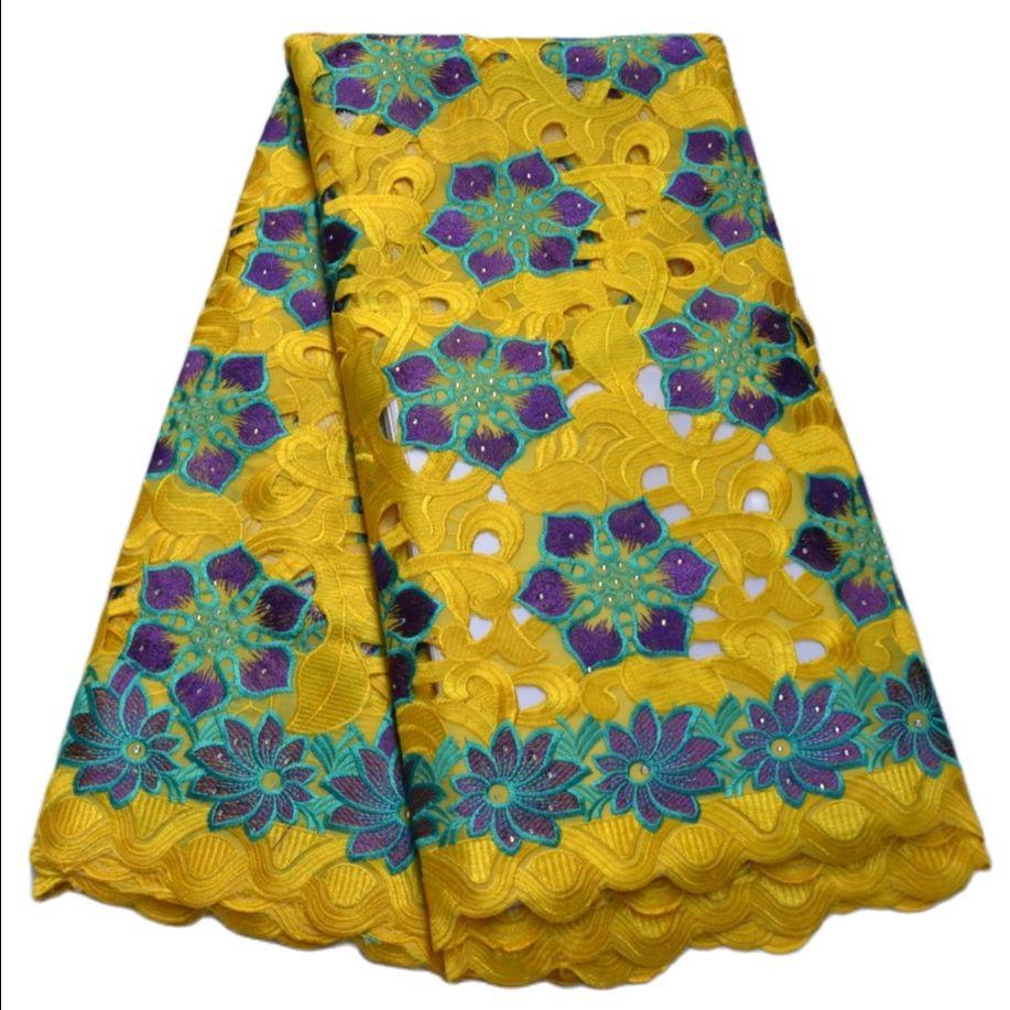 Amarelo de Alta Frete Grátis Novo Design Qualidade Laço Casamento Tecido Africano 5 Metros 100% Algodão Suíço Voile Lace-n88201 2021