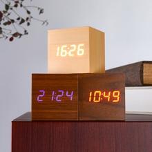Horloge de contrôle sonore en bois   Multicolore carré, Table de bureau, numérique en bois, affichage de Date USB/AAA avec rétro-éclairage