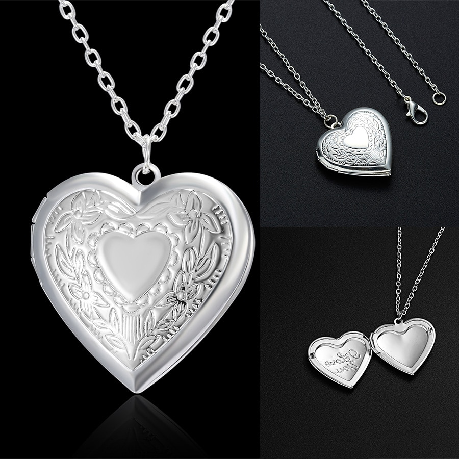 Unique Carved Design Heart-shaped Photo Frame Pendant Necklace Charm Openable Locket Necklaces Women
