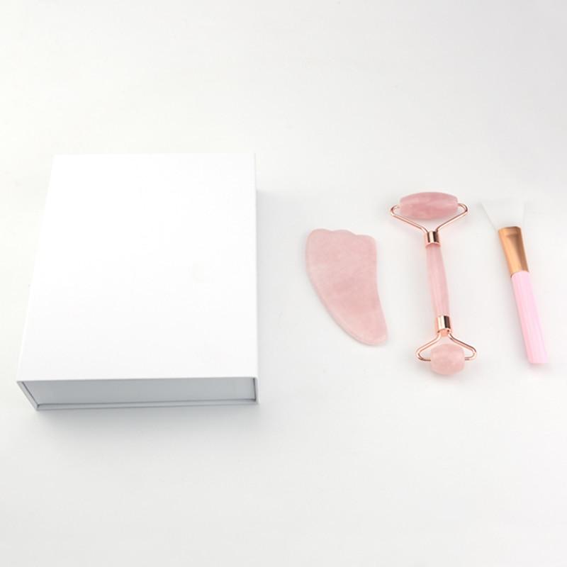 Drei-stück Gesicht Massager Rose Quarz Roller Rosa Kristall Roller Jade Roller Schaber Maske Pinsel Schönheit Gesicht-hebe werkzeug