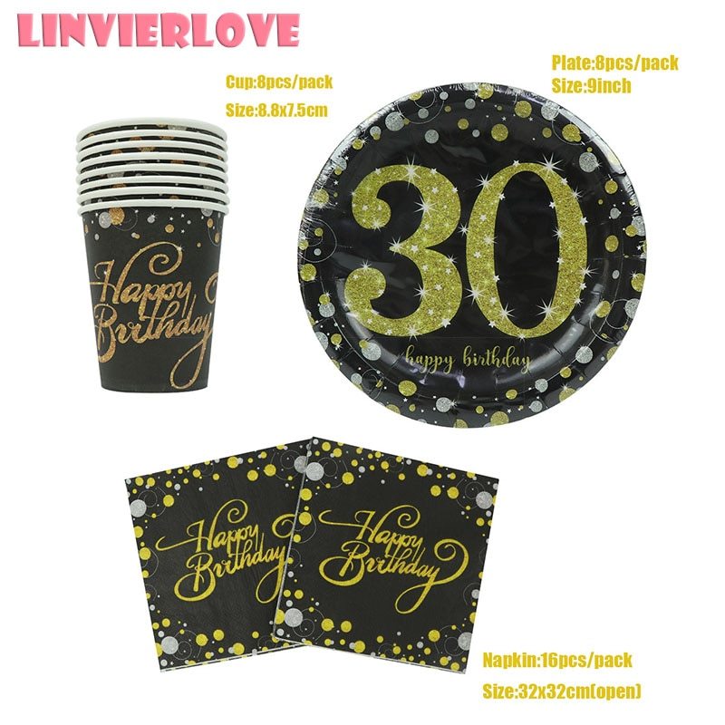 LINVIERLOVE 32ps Ouro Negro Feliz 30th 40th Xícara + Placa de Papel + Conjunto Para Capina Partido Guardanapos de Aniversário Descartável suprimentos louças
