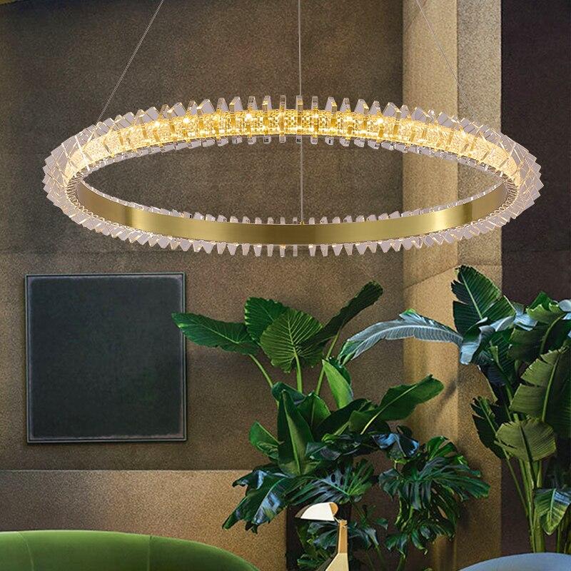 GPD الحديثة LED الثريا كريستال إضاءة داخلية الثريات لوفت لغرفة المعيشة الذهب مصباح دائري معلق بريق غرفة نوم