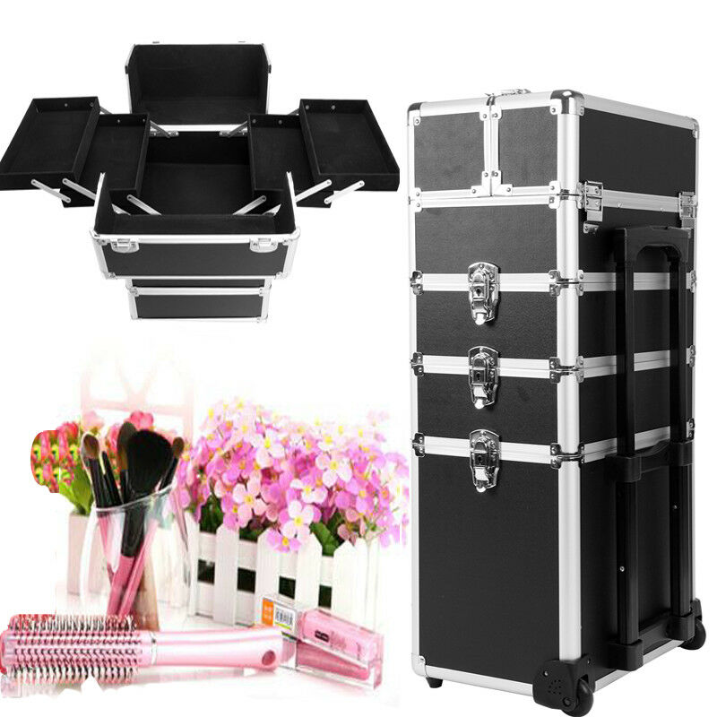 Yonntech 4 in 1 Cosmetic makeup nail hairdressing Beauty Case black Vanity Trolley