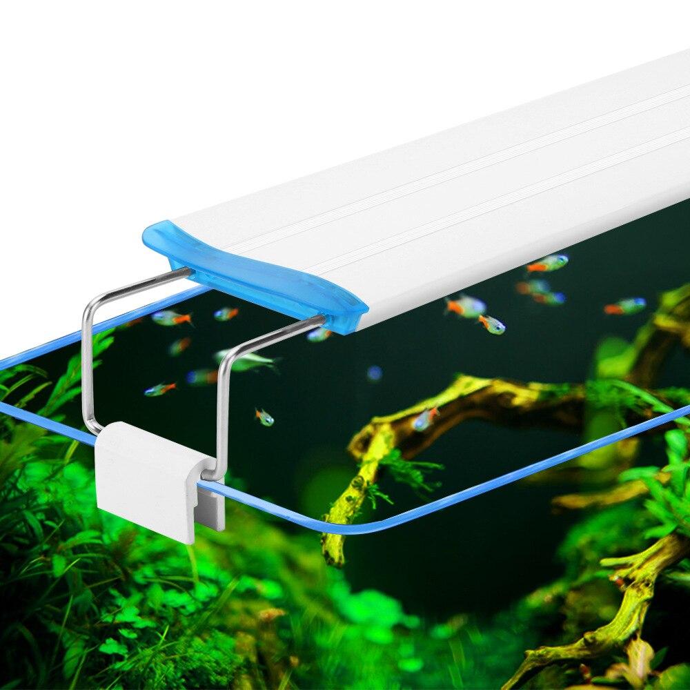 Luces LED ultrafinas de acuario luz azul blanca plantas de agua luces ecológicas de paisaje lámpara de marco de carcasa de onda enchufe de EE. UU. UE