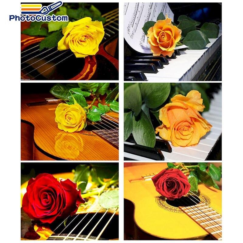 Картина по номерам для взрослых, без рамки, с цветами розы