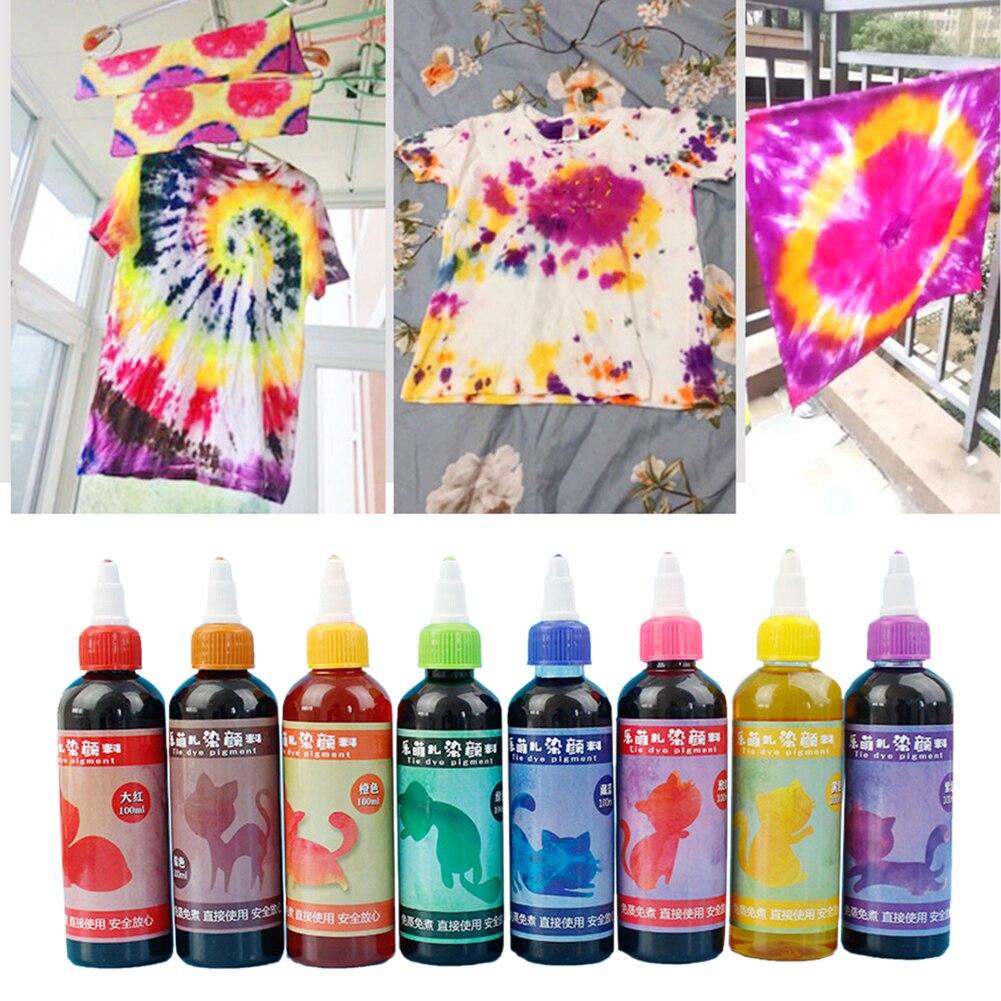 Artesanía permanente DIY tela textil pinturas Tie Dye Kit Arte colorido no tóxico decoración espiral Jacquard Accesorios