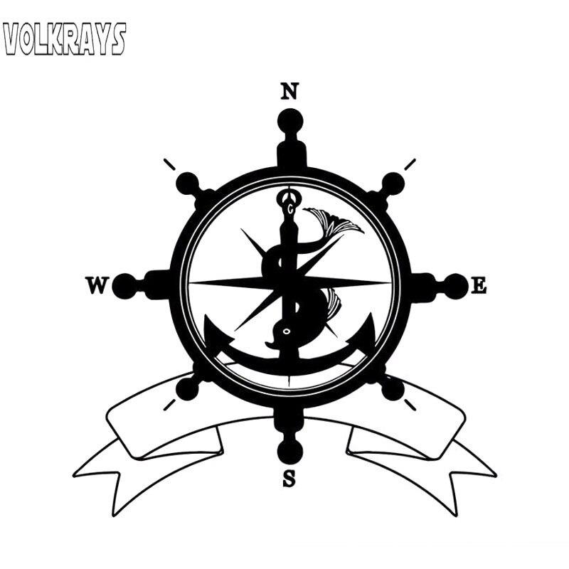 Volkrays pegatina a la moda para coche Nswe mar timón bandera símbolo ancla brújula viaje piratas navegación accesorios PVC calcomanía, 17cm * 16cm