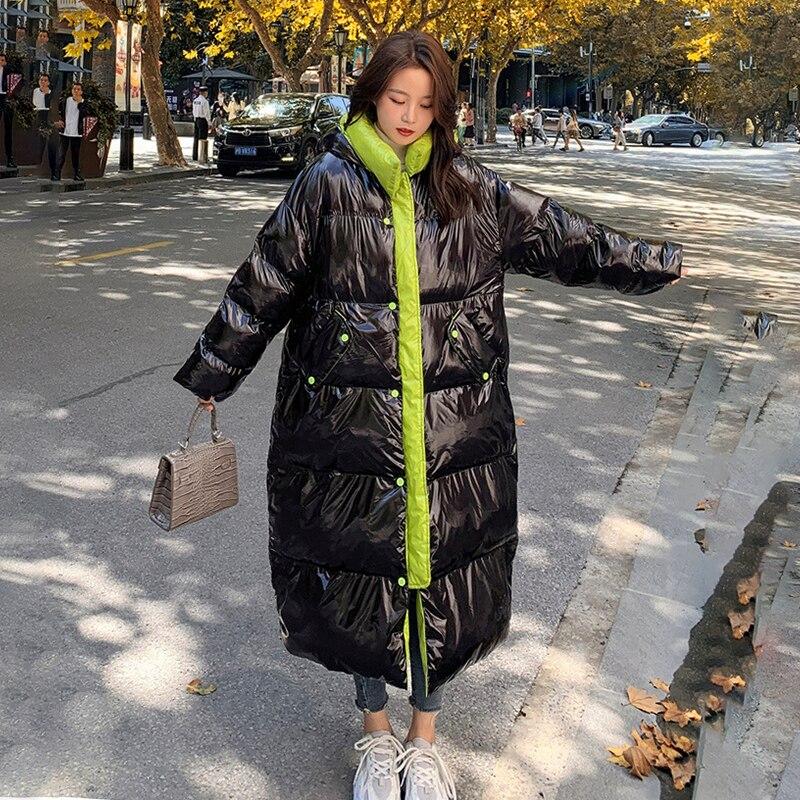 المرأة معطف الشتاء أسود لامعة الأبيض بطة أسفل طويلة الكورية خياطة فضفاضة مقنعين سميكة عادية يندبروف سترة قطن الإناث