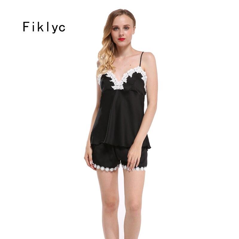 Fiklyc marca pijamas conjuntos para mulheres moda rendas cetim pijamas verão pijamas lingerie sexy pijamas feminino homewear novo
