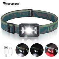WEST BIKING Rechargeable LED Headlamp Adjustable Angle Body Motion Sensor Headlight IPX5 Waterproof Head Flashlight Bike Light