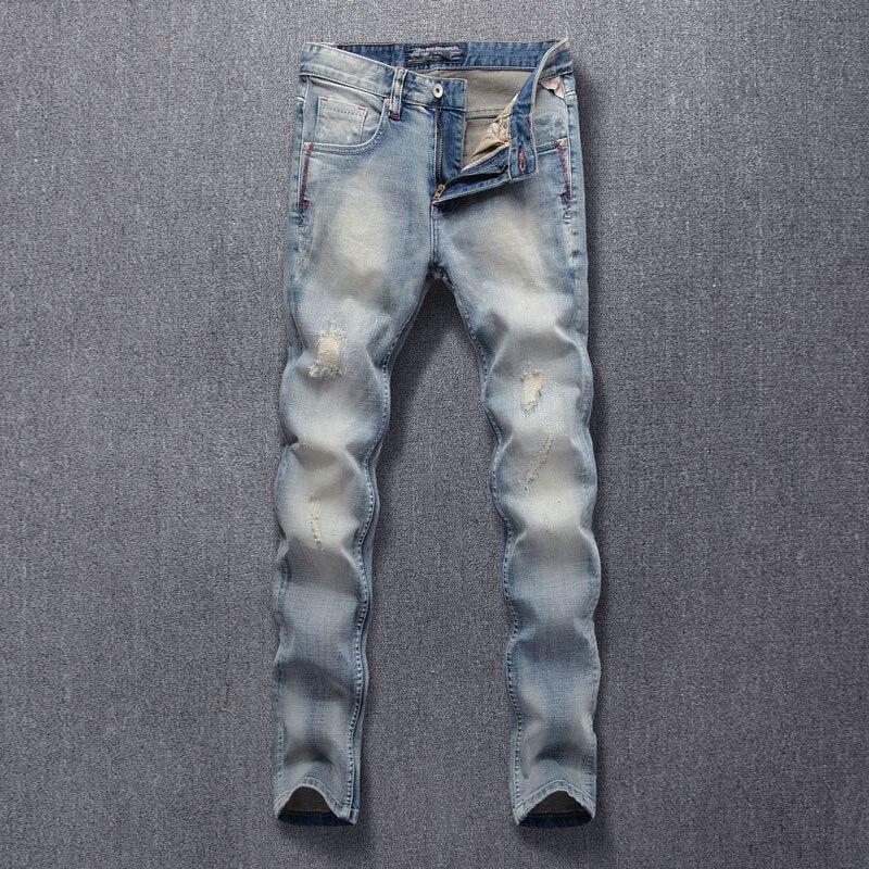 Модные мужские джинсы в Корейском стиле ретро светло-голубые Эластичные зауженные рваные джинсы мужские лоскутные дизайнерские винтажные ...