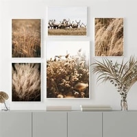 autumn flower reed wheat canvas painting animal elk landscape wall art nordic pictures posters and prints for living room decor