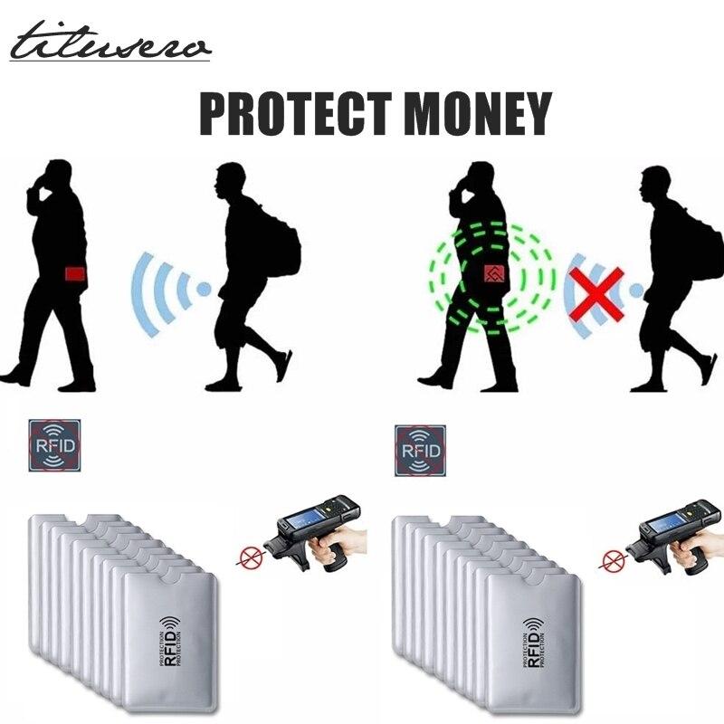 Lector de Anti Rfid con bloqueo de 5 uds., tarjetero para tarjetas bancarias, funda para tarjetas de crédito con protección Rfid, portatarjetas de aluminio F097