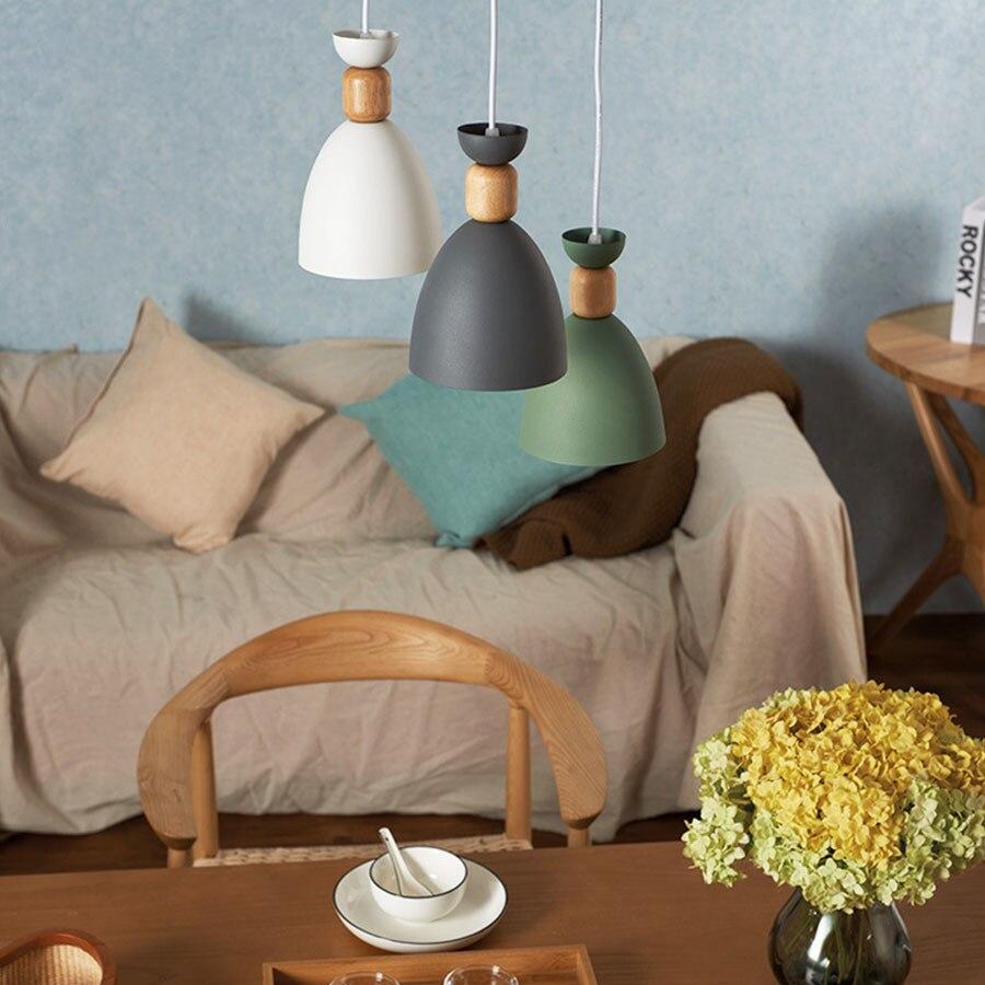 LED مصباح معلق الحديثة الحديد الفن الإنارة Loft Loft قلادة أضواء المطبخ غرفة المعيشة غرفة نوم قلادة خشبية ضوء