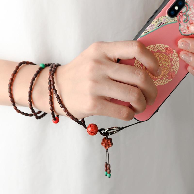 Elementos chinos hechos a mano Original Natural India Lobular sándalo rojo cordón corto para teléfono móvil de moda Retro extraíble
