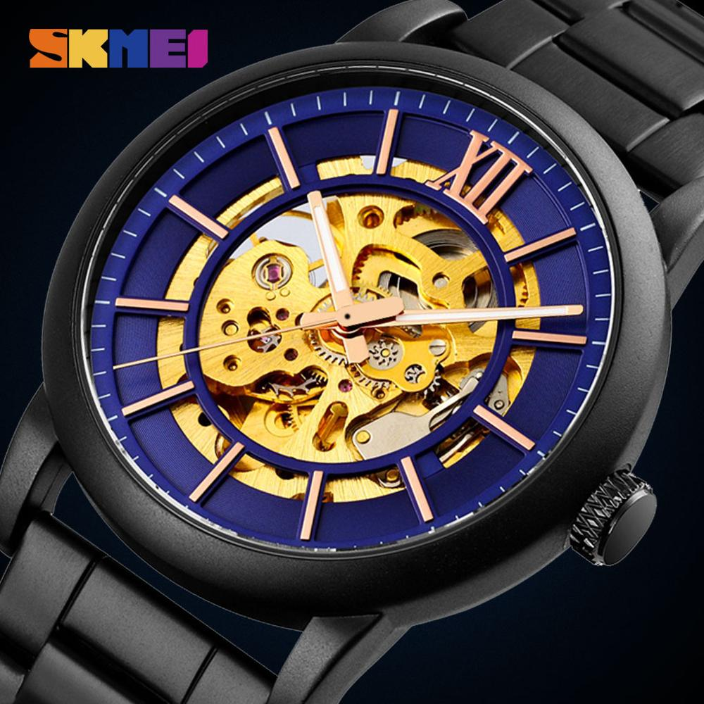SKMEI Charm Automatic Watch Man Mechanical Wristwatches Mens Hollow Dial Stainless Steel Strap Waterproof Hour Relogio Masculino