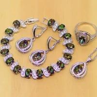mystic rainbow zircon jewelry sets 925 sterling silver jewelry women wedding earringspendantnecklaceringsbracelet