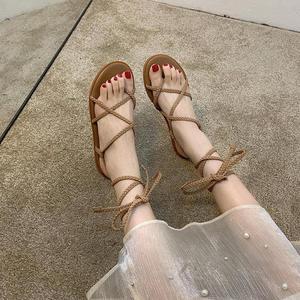 Sandals Women's Shoes 2021 New Summer Ankle Bandage For Beach Flip Flops Wear Fashion Flats Sandalias Roman Bohemian Shoes Slide