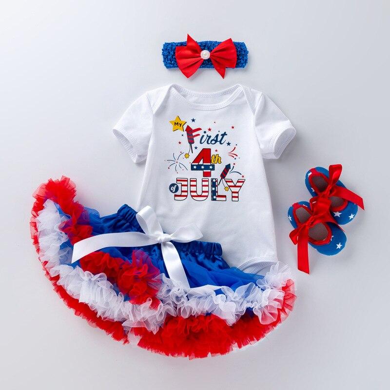 Ropa de bebé día de la independencia recién nacido conjunto 4 de Julio ropa infantil disfraces de cumpleaños bebé tutú volantes vestido ropa de bebé niña