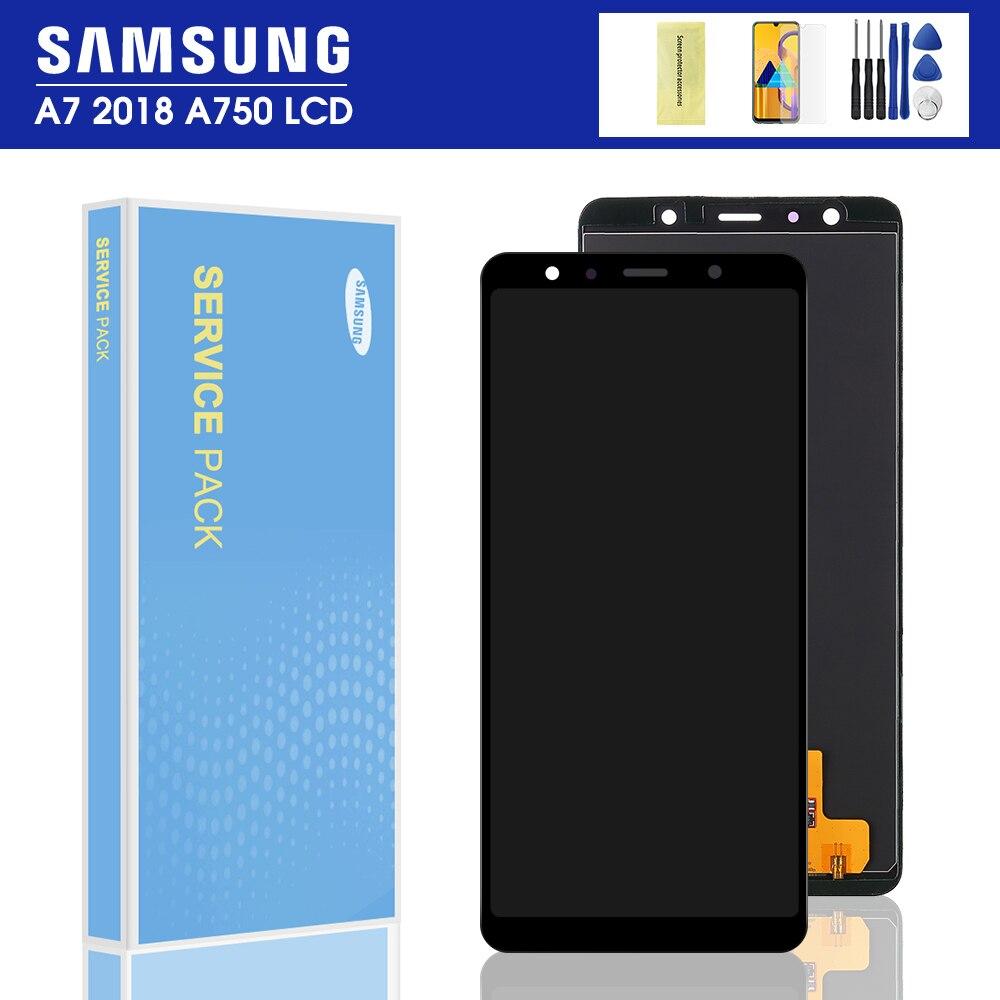 100% prueba A750 lcd para Samsung Galaxy A7 2018 SM-A750F A750FN A750G A750F LCD pantalla táctil digitalizador Asamblea reemplazar