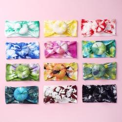 24 pc/lote acessórios para o cabelo tie dye prints redondo nó náilon bun bandana meninas donuts macios náilon bebê headbands meninas do miúdo headwear