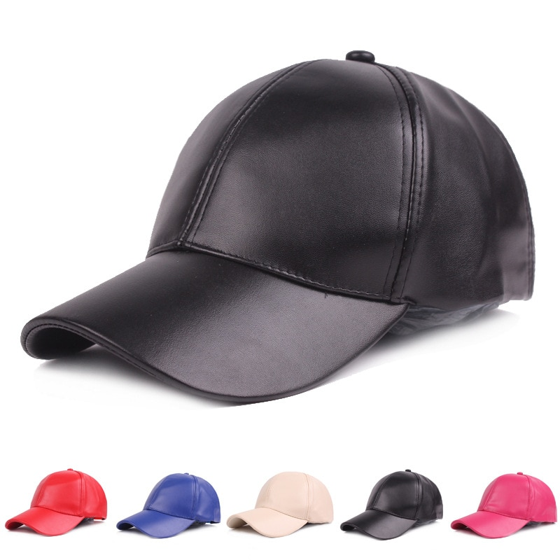 aorice new winter cotton cap genuine leather baseball cap hat men s real leather adult adjustable solid hats caps 3 colors hl132 Women Men Hat PU Leather Baseball Cap Visor Light Board Solid Men Hip Hop Cap Outdoor Sun Hat Adjustable Sports caps