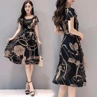 summer fashion womens dress black flower print dresses round neck high waist knee length skirt casual korean trend ladies 2021