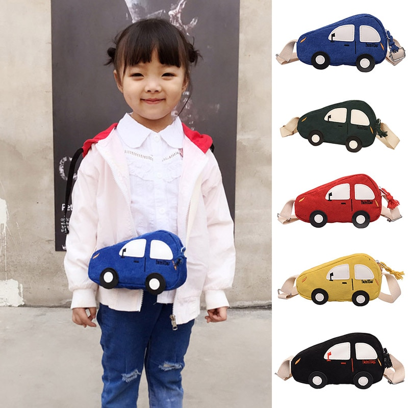 Kids Girls Canvas Shoulder Bag Cute Mini Car Shape Messenger Hand Bags Gifts 2020 New Design Girls Bag Purses Bolsas