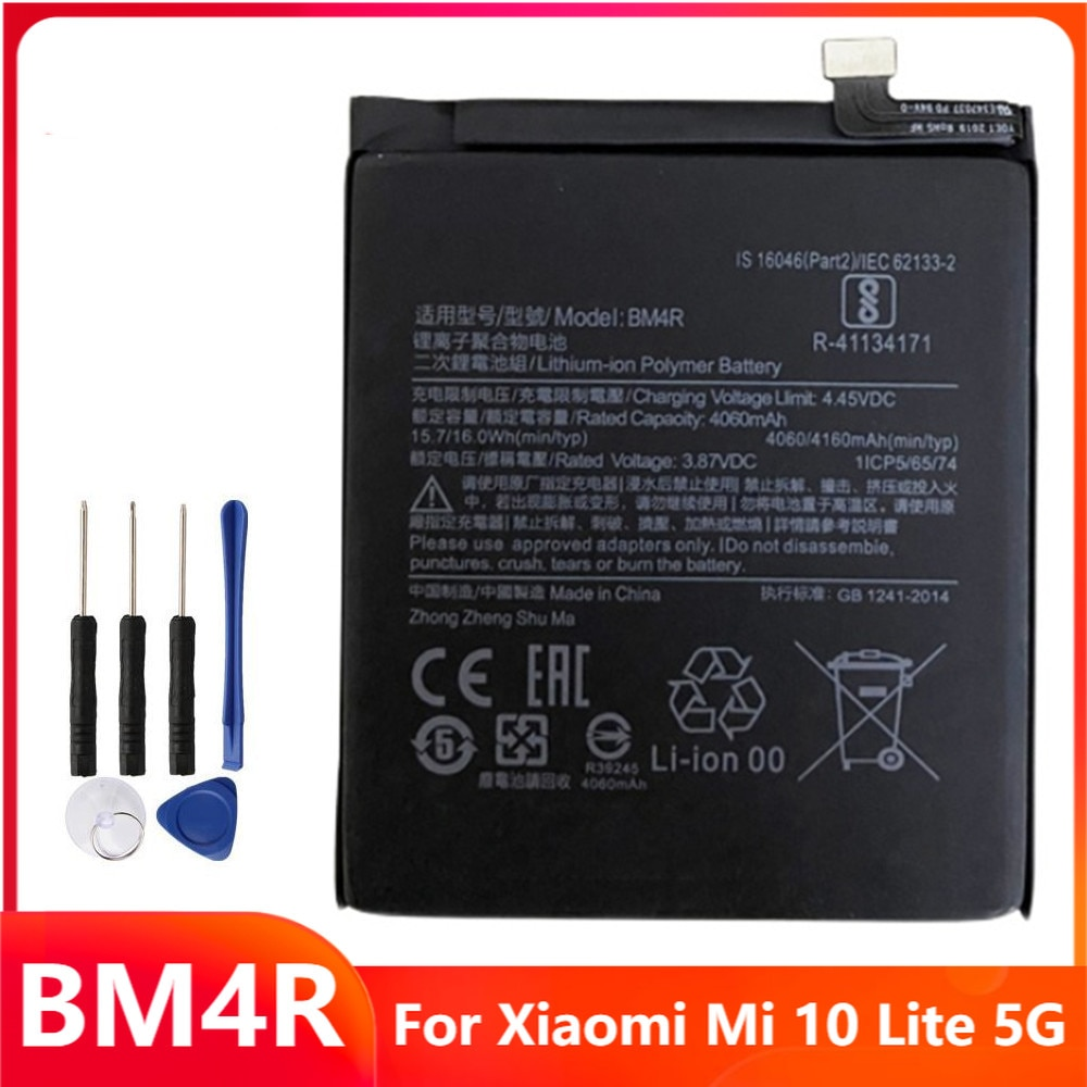 Сменный аккумулятор для телефона BM4R для Xiaomi Mi 10 Lite 5G, аккумуляторные батареи 4160 мАч с бесплатными инструментами