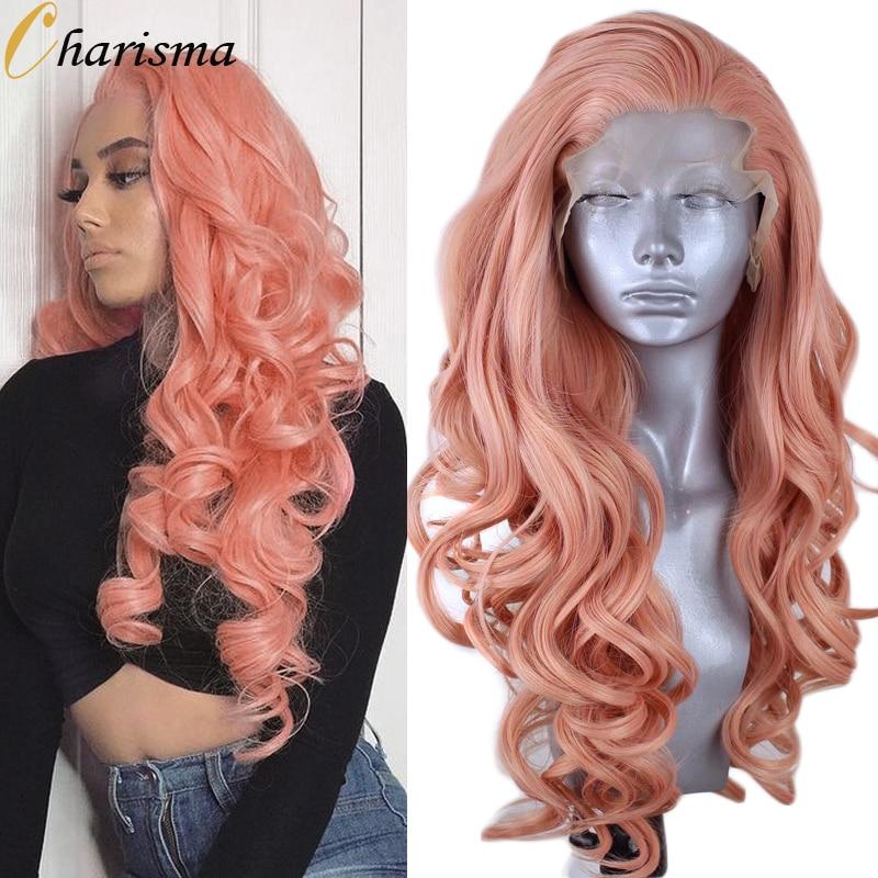 كاريزما الاصطناعية الدانتيل شعر مستعار أمامي الجانب جزء الوردي الباروكات للنساء مقاومة للحرارة الشعر الطويل Wavy الشعر الدانتيل الباروكات