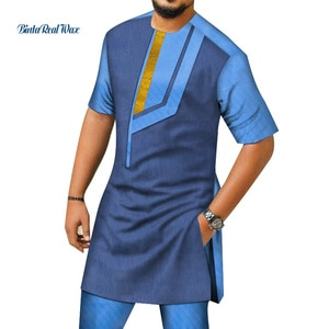 2021 Summer New Fashion African Mens Top and Pant Sets 2Pcs Patchwork  Short Sleeve Shirt and Pant  African Men Clothing WYN1412